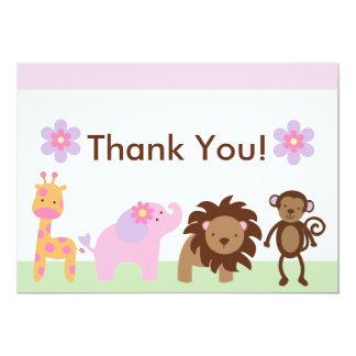 """Los animales de la selva de Bubblegum le agradecen Invitación 5"""" X 7"""""""