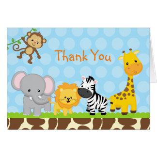 Los animales de la selva del safari doblados le tarjeta pequeña