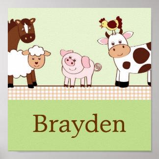 Los animales de los bebés de la granja personaliza poster