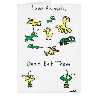 Los animales del amor de Moby, no los comen tarjet Felicitacion