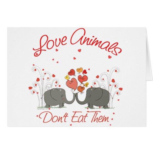 Los animales del amor no los comen tarjeta de felicitación
