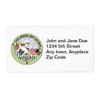 Los animales del amor no los comen vegano etiquetas de envío