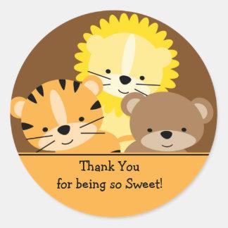 Los animales del bebé le agradecen pegatina