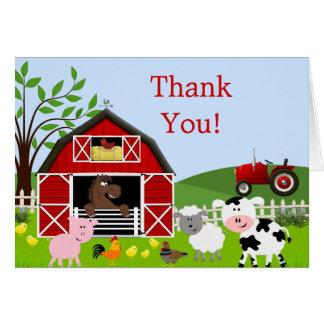 Los animales del campo del corral le agradecen tarjeta de felicitación