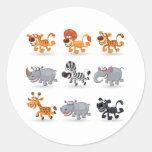Los animales del dibujo animado fijaron 1 pegatinas redondas
