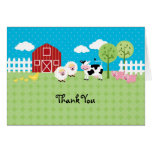 Los animales del granero le agradecen cardar tarjetas