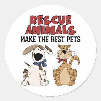 Los animales del rescate hacen los mejores pegatina redonda