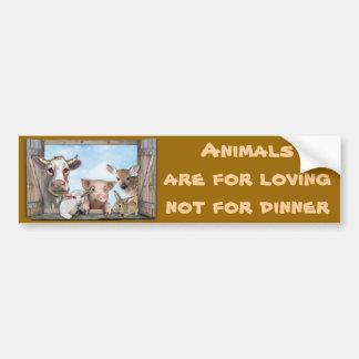 Los animales están para amar pegatina de parachoque