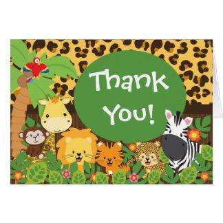 Los animales lindos del safari de selva le agradec tarjetón