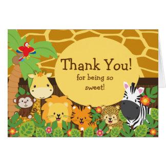 Los animales lindos del safari le agradecen tarjet felicitación