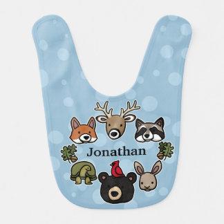 Los animales lindos y amistosos del bosque, añaden babero para bebé