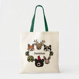 Los animales lindos y amistosos del bosque, añaden bolsa tela barata