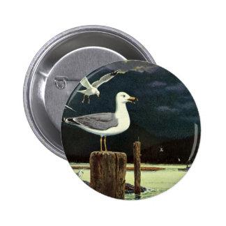 Los animales marinos de los pájaros del vintage, pin redondo 5 cm
