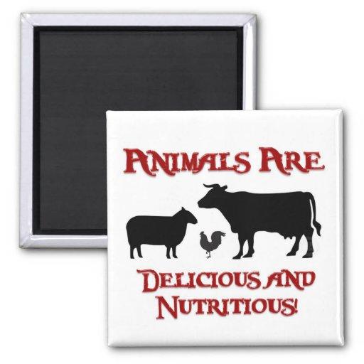 Los animales son deliciosos y nutritivos iman de nevera