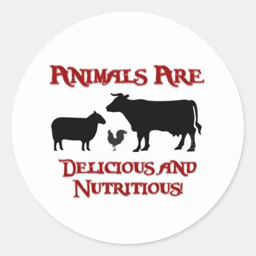 Los animales son deliciosos y nutritivos pegatina redonda