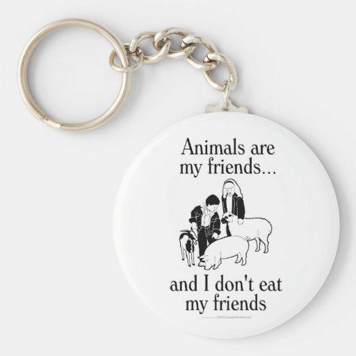 Los animales son mis amigos. .and que yo no como a llavero personalizado