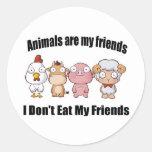 Los animales son mis amigos pegatinas redondas