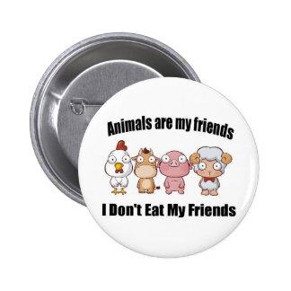 Los animales son mis amigos pin redondo de 2 pulgadas