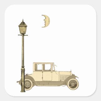 los años 20 coche y lámpara de calle pegatina cuadrada