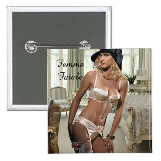 Los años 20 de Femme Fatale - el fumar y armas Pin Cuadrado