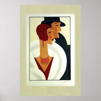 Los años 20 de los pares del art déco póster