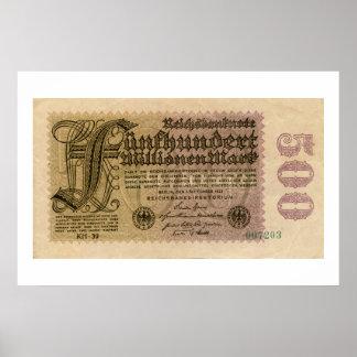 Los años 20 del vintage 500 millones de billetes impresiones