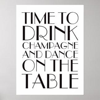 los años 20 miden el tiempo para beber blanco del póster