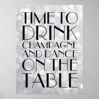 los años 20 miden el tiempo para beber la plata póster