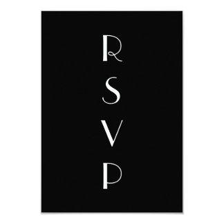 """los años 20 negros y RSVP blanco Invitación 3.5"""" X 5"""""""