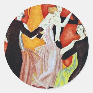 los años 20 que bailan pares pegatina redonda