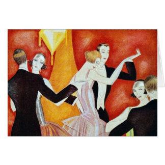 los años 20 que bailan pares tarjeta de felicitación