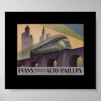 Los años 30 autos de Evans Railers Póster