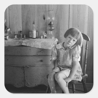 Los años 30 del chica de la Gran Depresión Pegatina Cuadrada