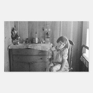 Los años 30 del chica de la Gran Depresión Pegatina Rectangular