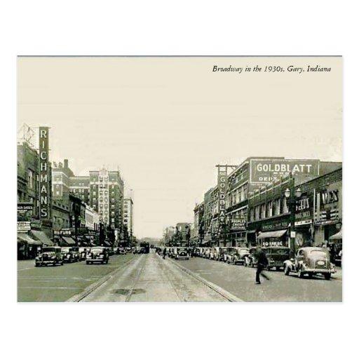 Los años 30 Gary, Indiana de Broadway Tarjeta Postal