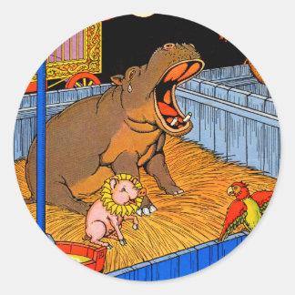 los años 30 hippopotamus y amigos gritadores pegatina redonda