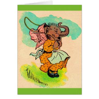 los años 30 vistieron el elefante que jugaba la tarjeta de felicitación