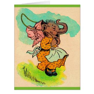 los años 30 vistieron el elefante que jugaba la tarjeta de felicitación grande