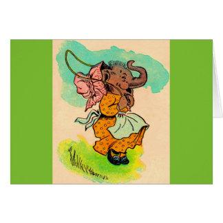 los años 30 vistieron el elefante que jugaba la tarjeta pequeña