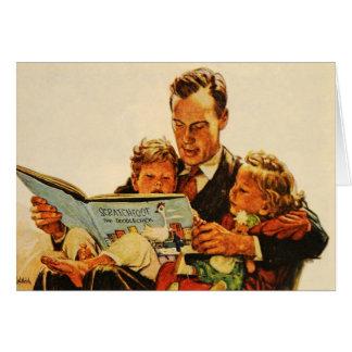 Los años 40 de los niños de la lectura de la tarje felicitaciones