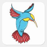 Los años 40 del vintage del ~ del colibrí 2 tatúan calcomania cuadrada personalizada