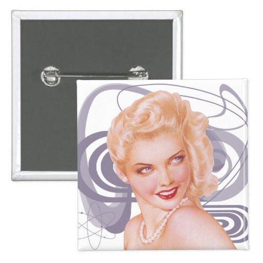 Los años 40 retros modelos pin cuadrada 5 cm