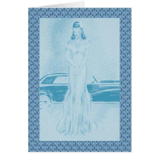 Los años 40 retros mujer y coche tarjeta