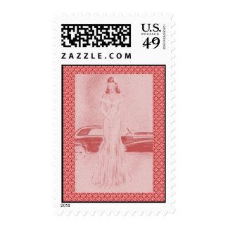 Los años 40 retros mujer y coche timbres postales
