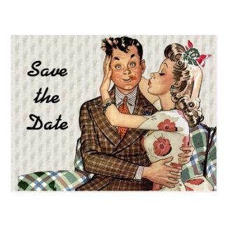 Los años 40 retros que besan pares ahorran la tarjetas postales