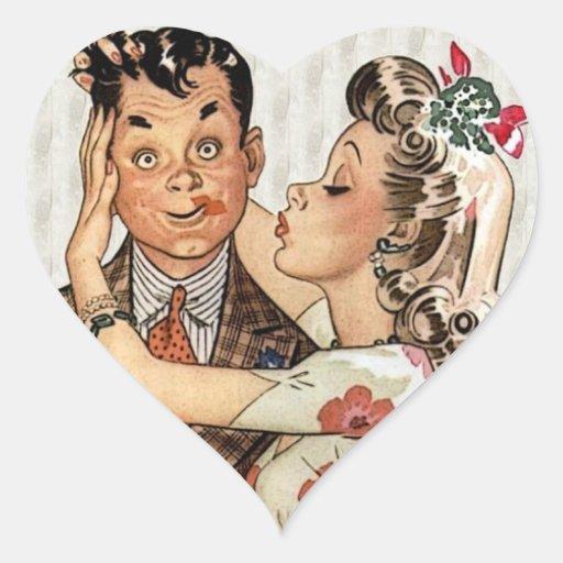 Los años 40 retros que besan pares calcomanías de corazones personalizadas