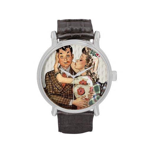 Los años 40 retros que besan pares relojes de pulsera