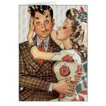 Los años 40 retros que besan pares tarjeta de felicitación