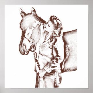 los años 40 vaquera y caballo impresiones