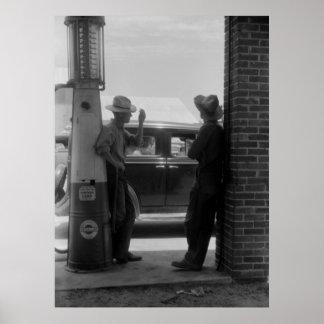 Los años 40 visibles de la bomba y del coche de ga póster